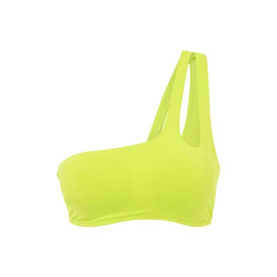 Top de bikini bralette amarillo asymetriz;