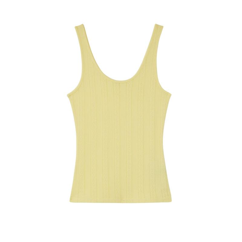 camiseta lisa de punto con puntitos - amarilla;