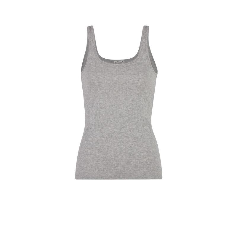 Top sin mangas de punto liso - gris;