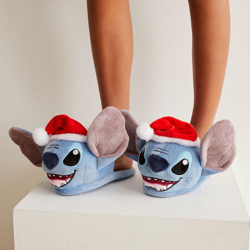 zapatillas Stitch en Navidad - azul;