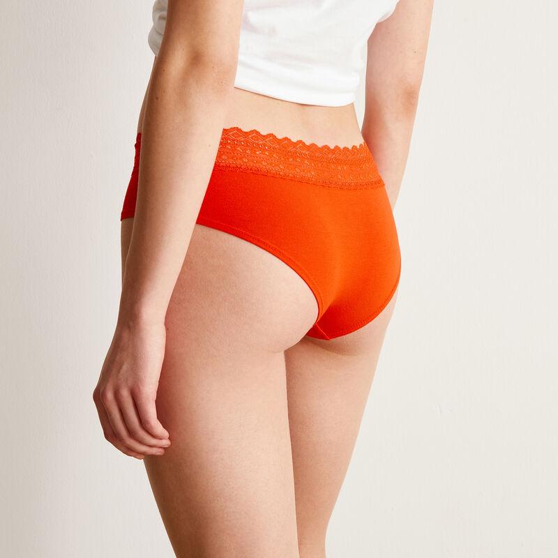 Braguita culotte de algodón liso con elástico de encaje - roja;
