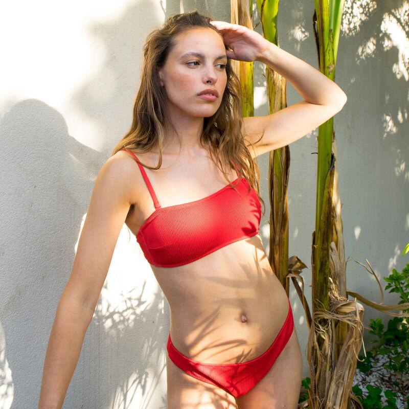 braguita de bikini gofrada - roja;