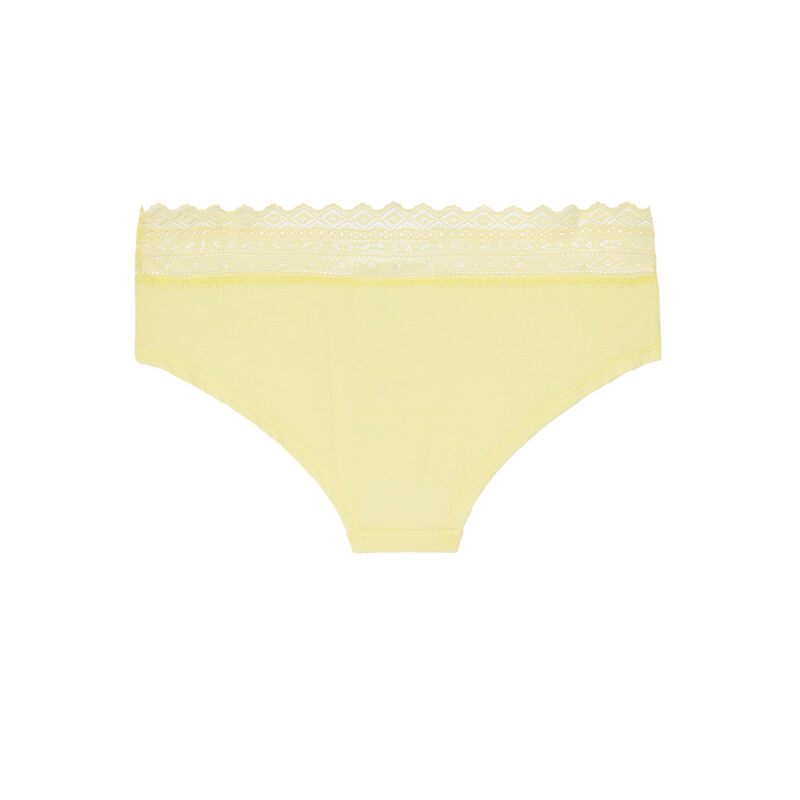 Braguita culotte de algodón liso con elástico de encaje - amarilla;