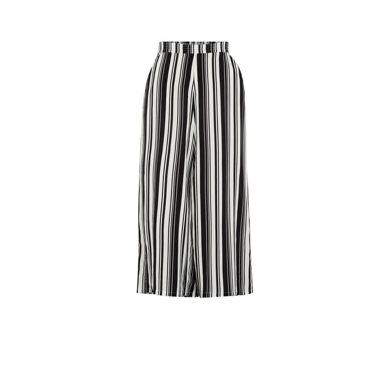 Pantalón ancho a rayas - negro;