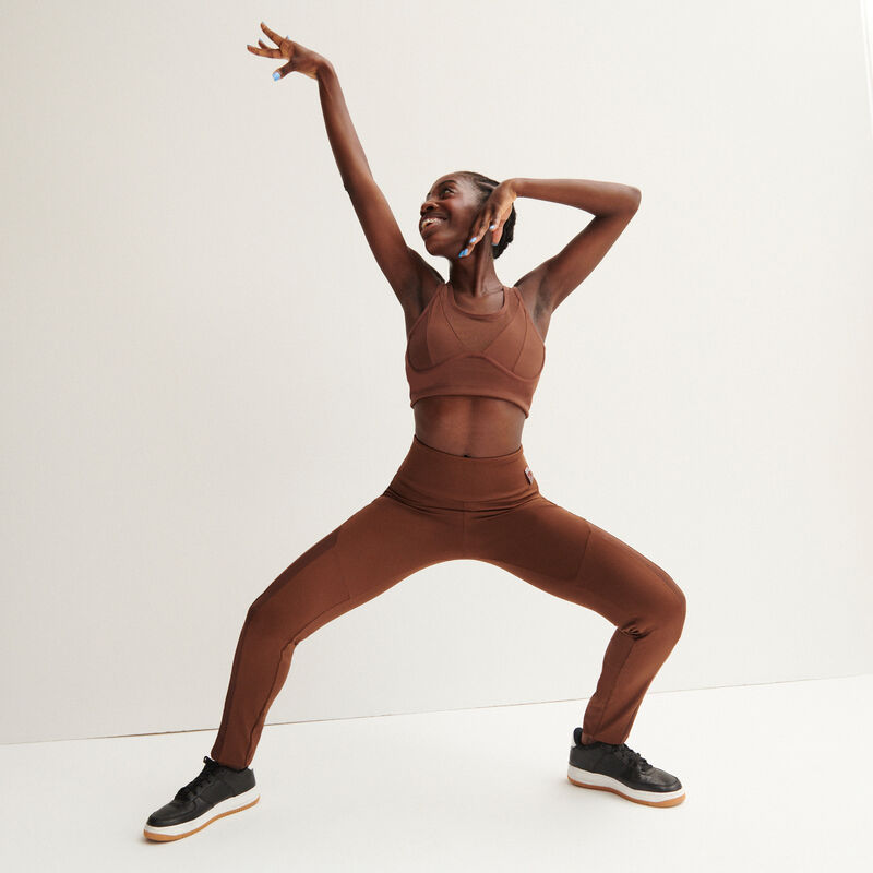 sujetador deportivo efecto malla - marrón;