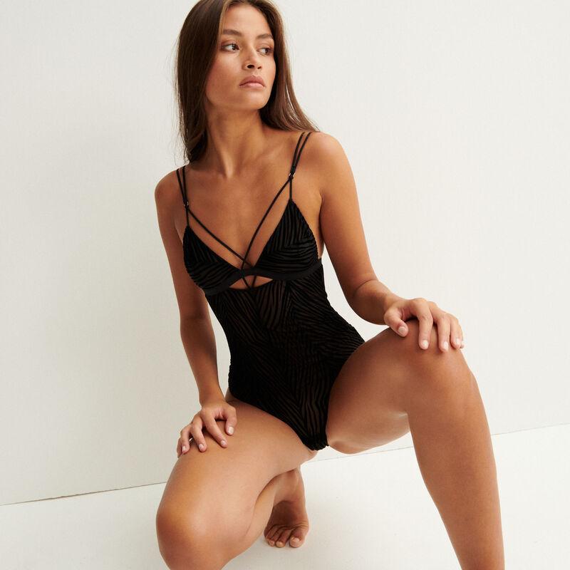 body de tul con cintas - negro;