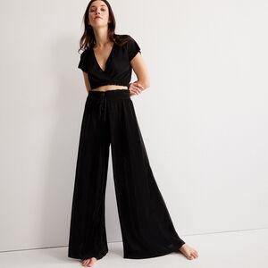 pantalón plisado con elástico fruncido - negro
