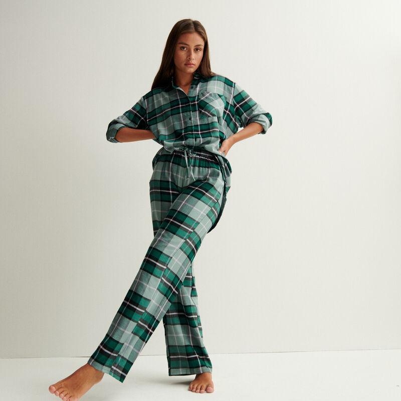 camisa oversize de cuadros - verde pino;