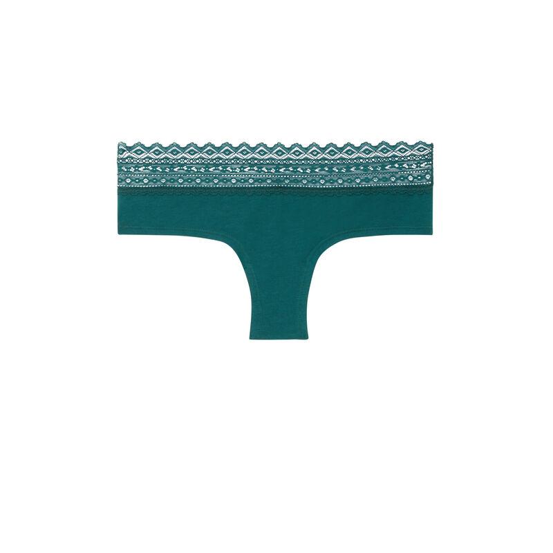 Braguita culotte de algodón con encaje - verde;