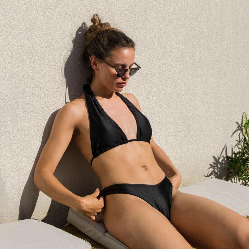 parte de abajo de bikini braguita brasileña escotada satinada - negro;