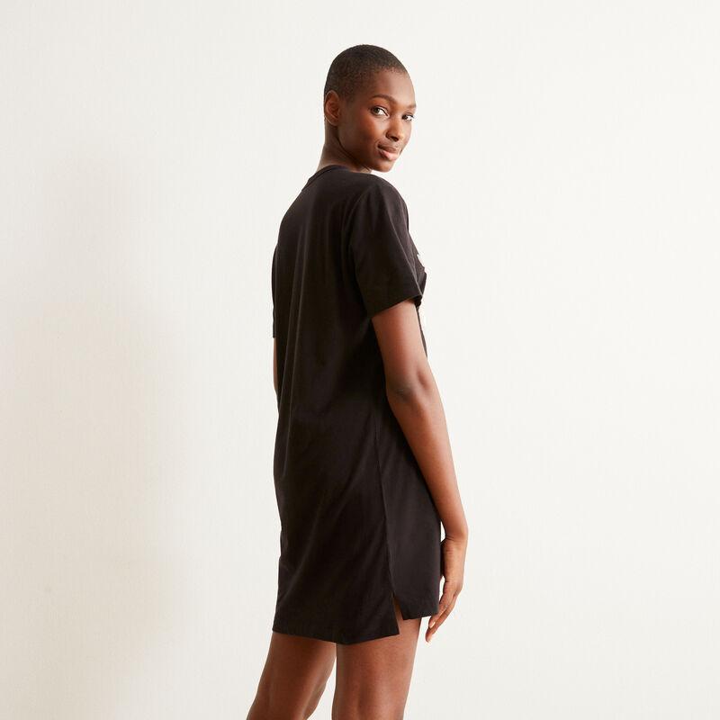 camiseta larga con estampado de gatito amoroso - negro;