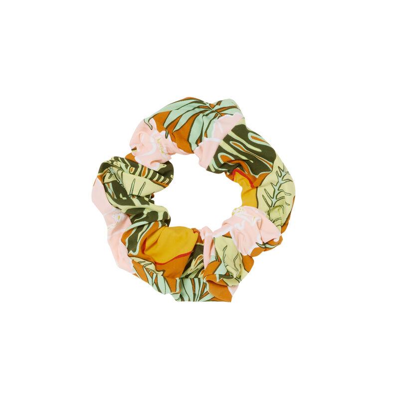goma del pelo con estampado tropical - naranja;