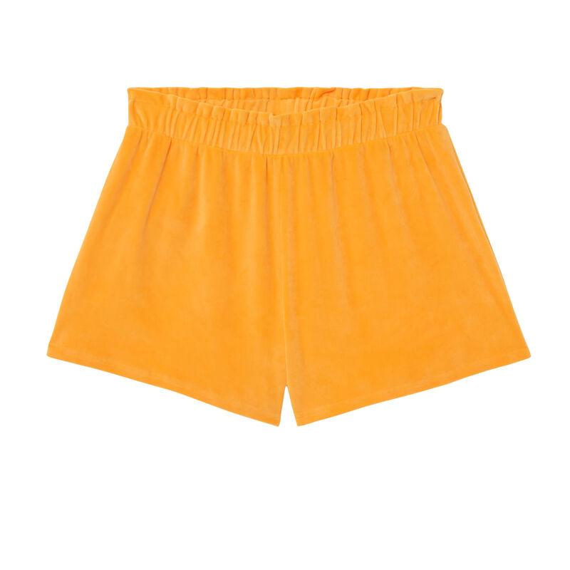 Shorts fruncidos en la cintura de terciopelo - naranja;