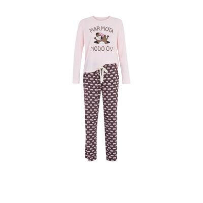 Conjunto de pijama fucsia marmotaiz;${refinementColor}