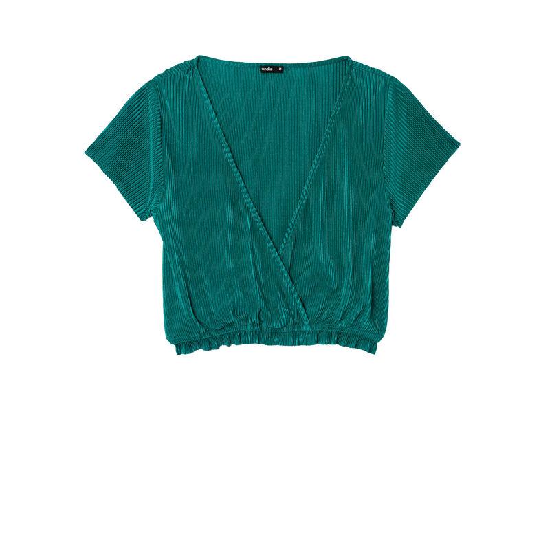 top plisado manga corta y escote de corazón - verde;