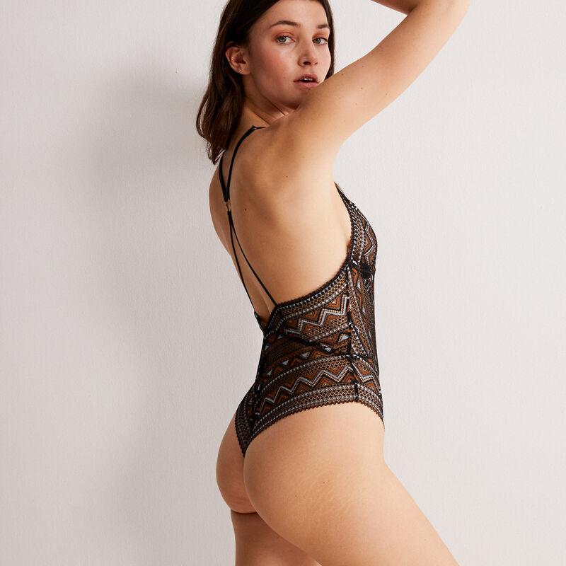 Body triángulo de encaje bicolor - negro;