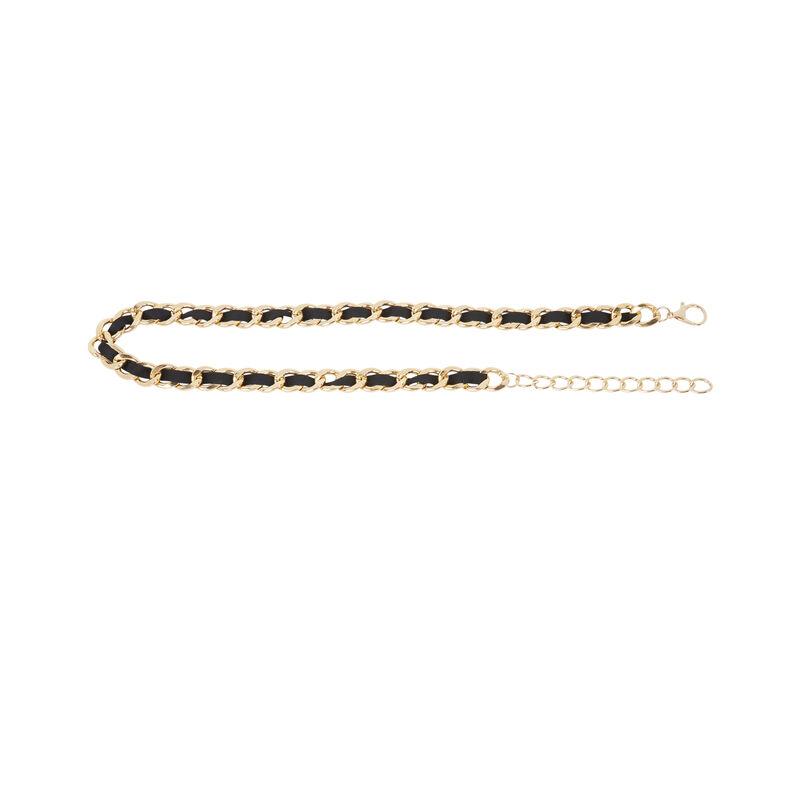 Cinturón dorado y cinta - negro;