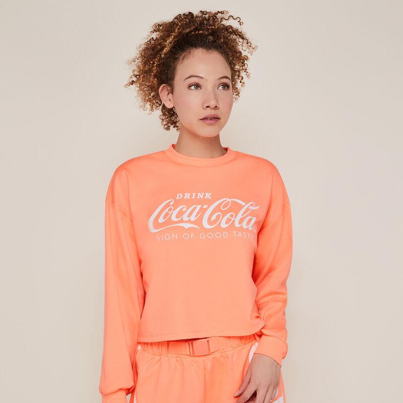 Sudadera con cuello redondo de coca-cola color coral fluorescente;
