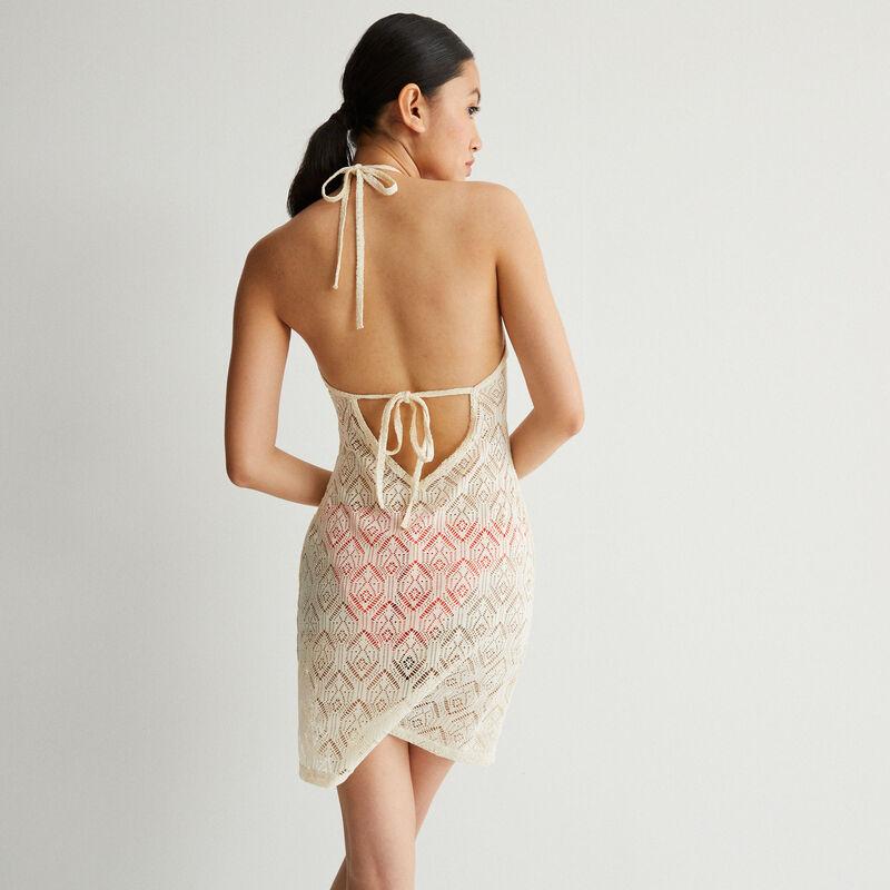 vestido de encaje con espalda abierta y anudado - crudo;