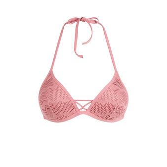 Parte de arriba de bikini triangular rosa palo ajouriz pink.