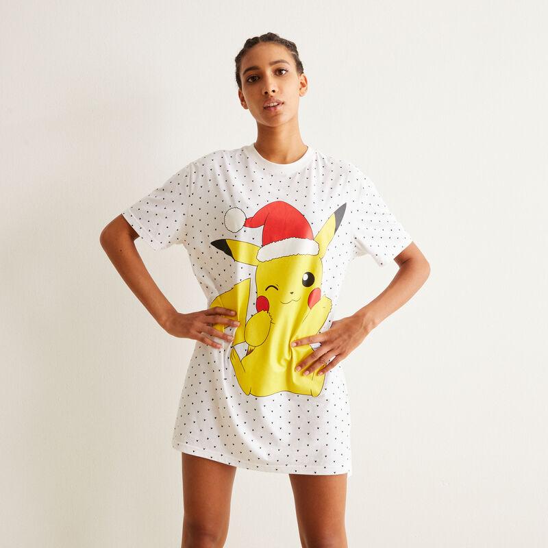 juego de pijama camiseta larga y braguita culotte Pikachu - blanco;