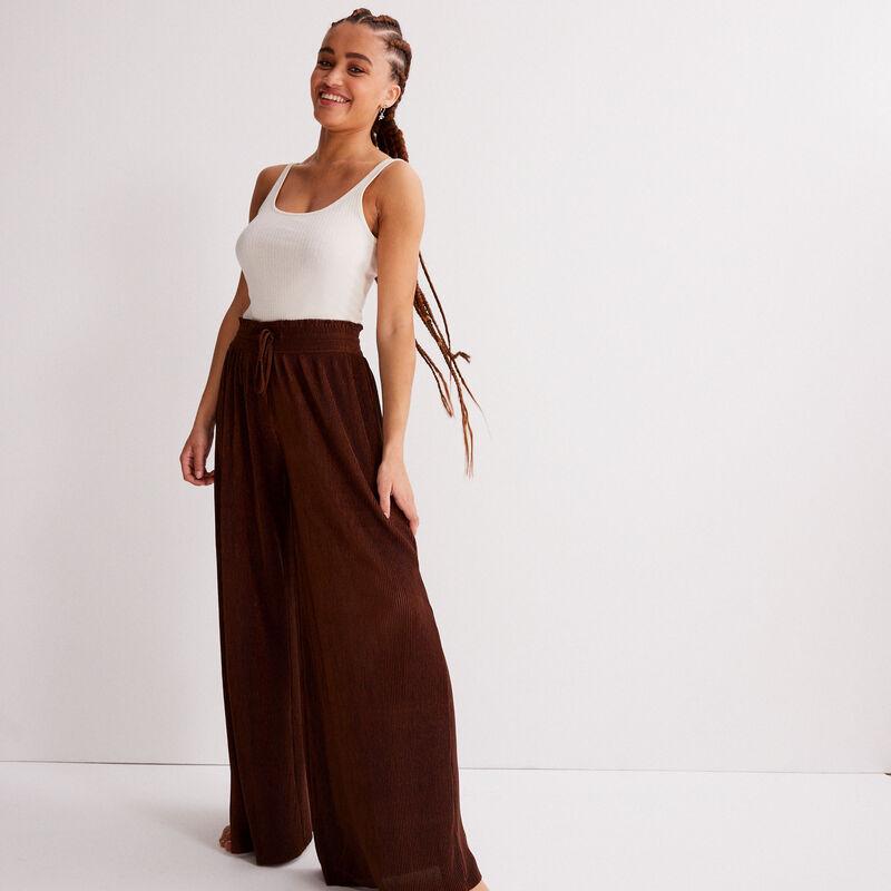 Pantalón ancho con cintura fruncida - marrón;