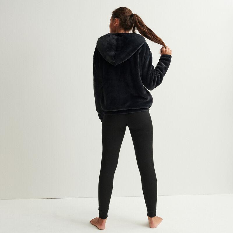 chaqueta de fibra polar con cremallera de anillo y capucha - negro;