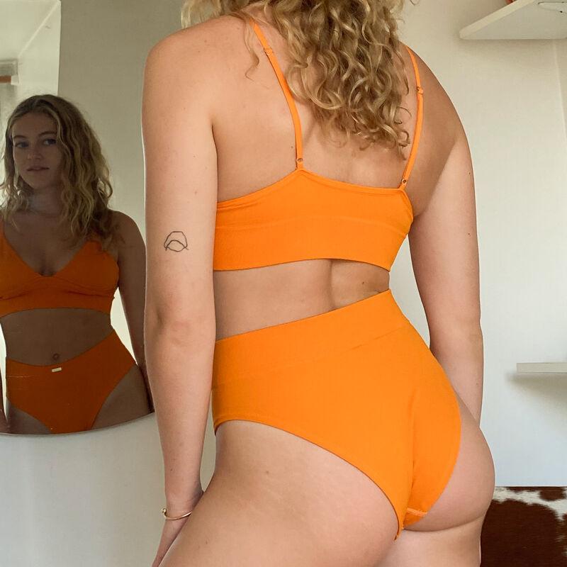 Sujetador de triángulo acanalado sin aros - naranja;