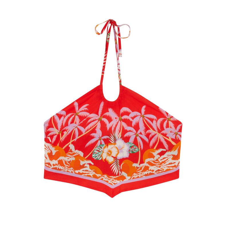 Top de satén con la espalda desnuda con motivos de flores tropicales - rojo;