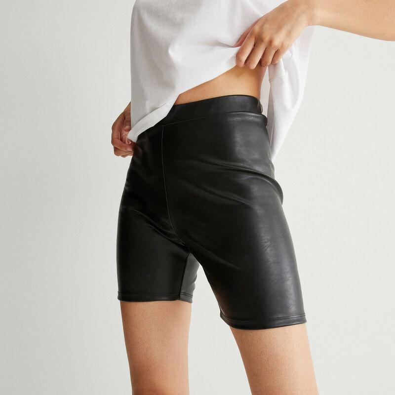 pantalón ciclista efecto piel - negro;
