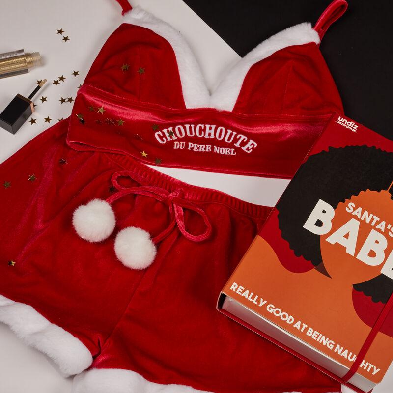 juego de sujetador y short ojito derecho de Papá Noel - rojo;