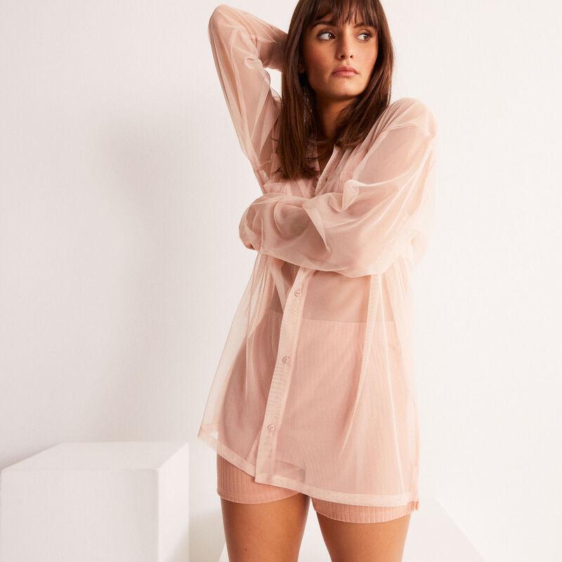 camisa larga transparente de tul - rosa nude;
