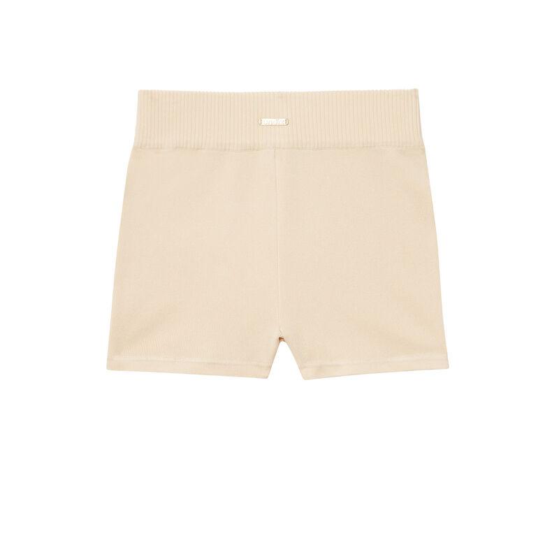 Pantalón corto ciclista de punto - beige;