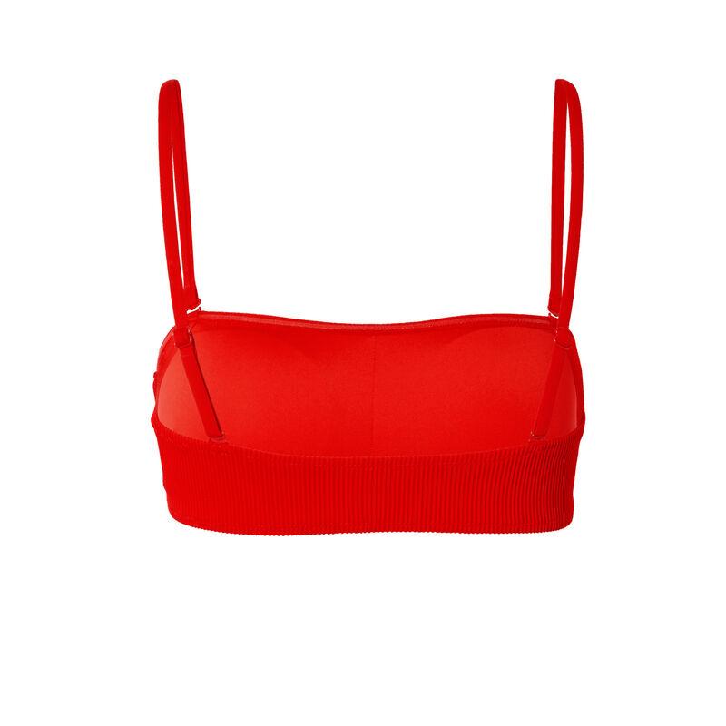 parte de arriba de bikini bandeau gofrada - roja;