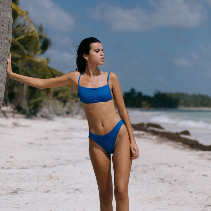 Parte de arriba de bikini sujetador lisa - azul;
