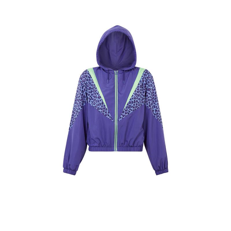 Chaqueta con cremallera y estampado de leopardo - violeta;
