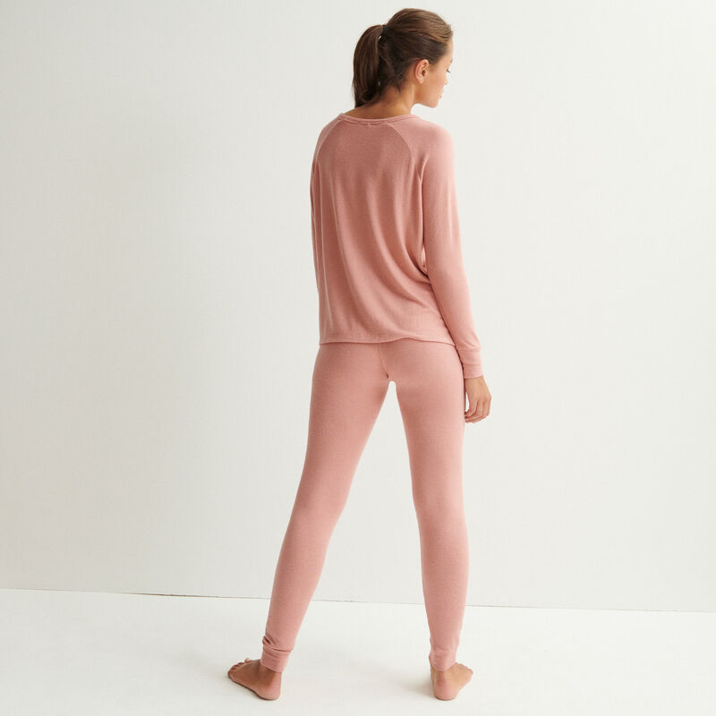 top de punto de manga larga - rosa nude;