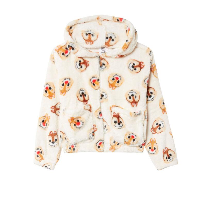 chaqueta polar con motivos de chip y chop - crema;