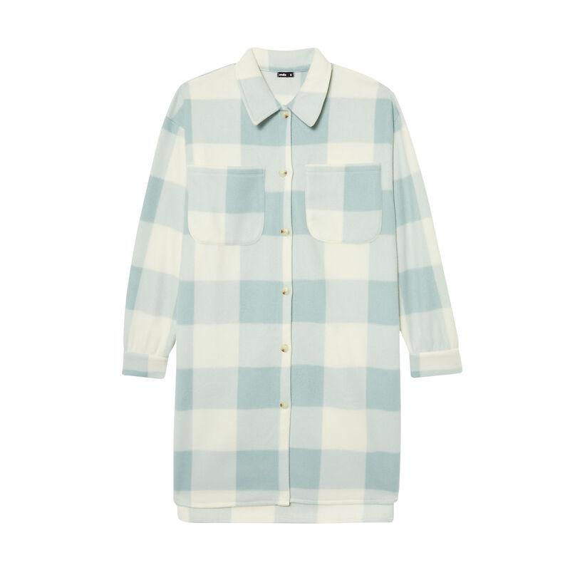 chaqueta polar larga con estampado de vichy - verde agua;