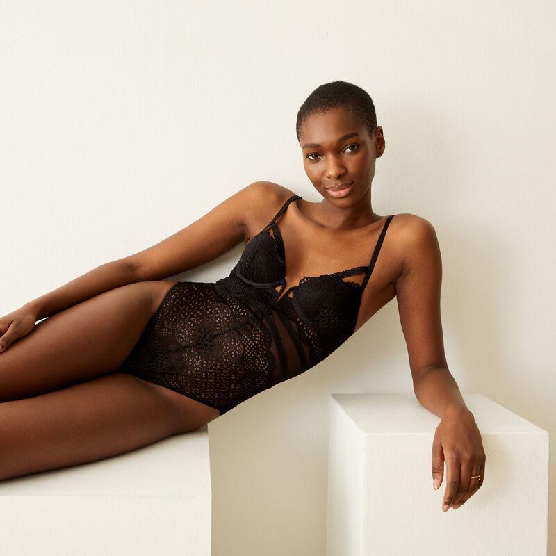 Body push-up de encaje con lazos - negro ;