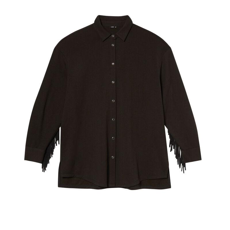 camisa de flecos - negra;
