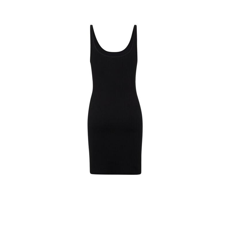 Vestido liso con forma de camiseta sin mangas - negra;