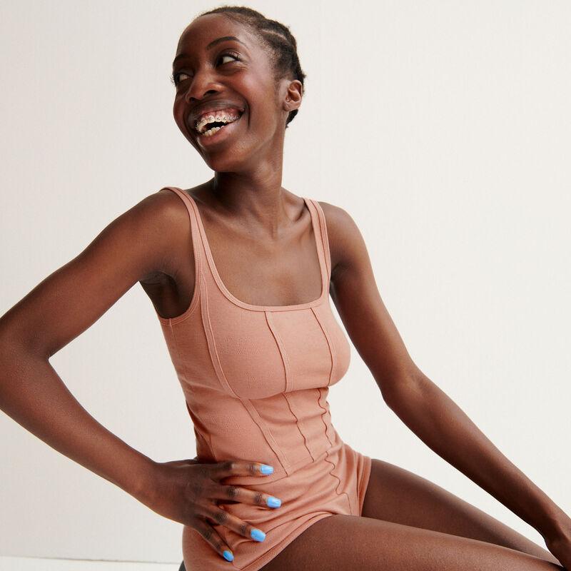 """Top con efecto corset Aya x undiz """"jolie nana"""" de encaje - rosa nude;"""