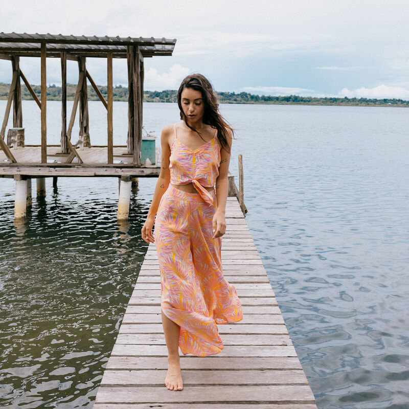 Pantalón ancho abierto con motivos de palmera - naranja;