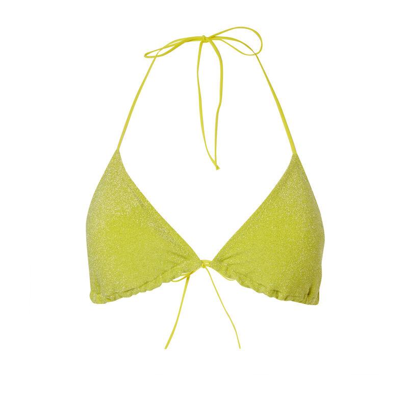 Parte de arriba de bikini sujetador con lentejuelas - amarillo;