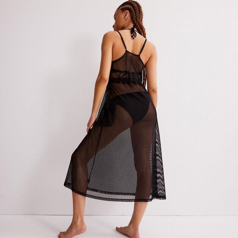 Vestido de tul transparente con detalle elástico - negro;