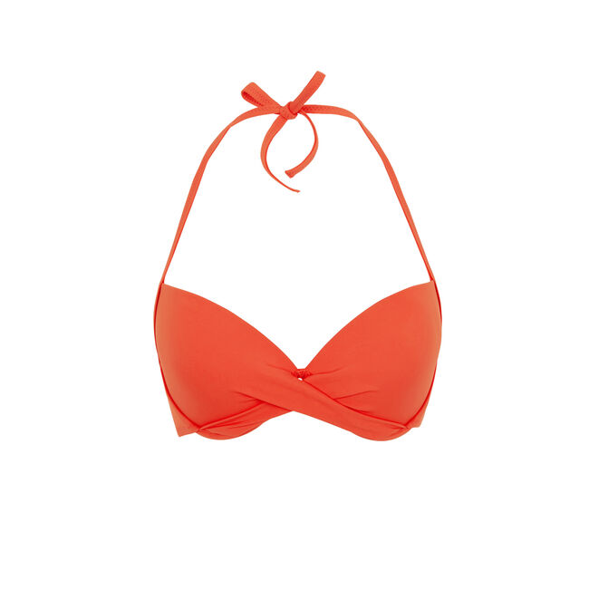 Top de bikini con push-up en coral Twistiz;