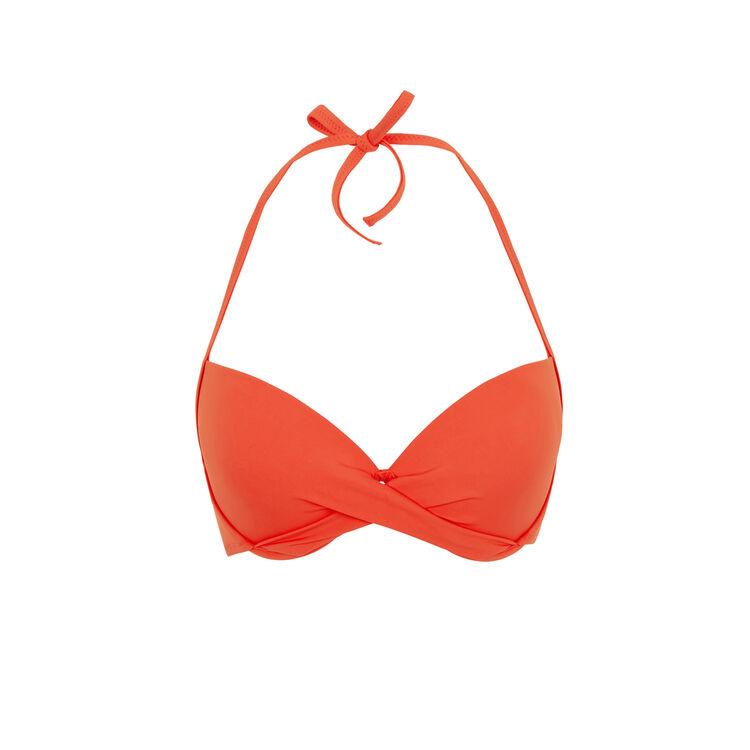 Top de bikini con push-up en coral Twistiz;