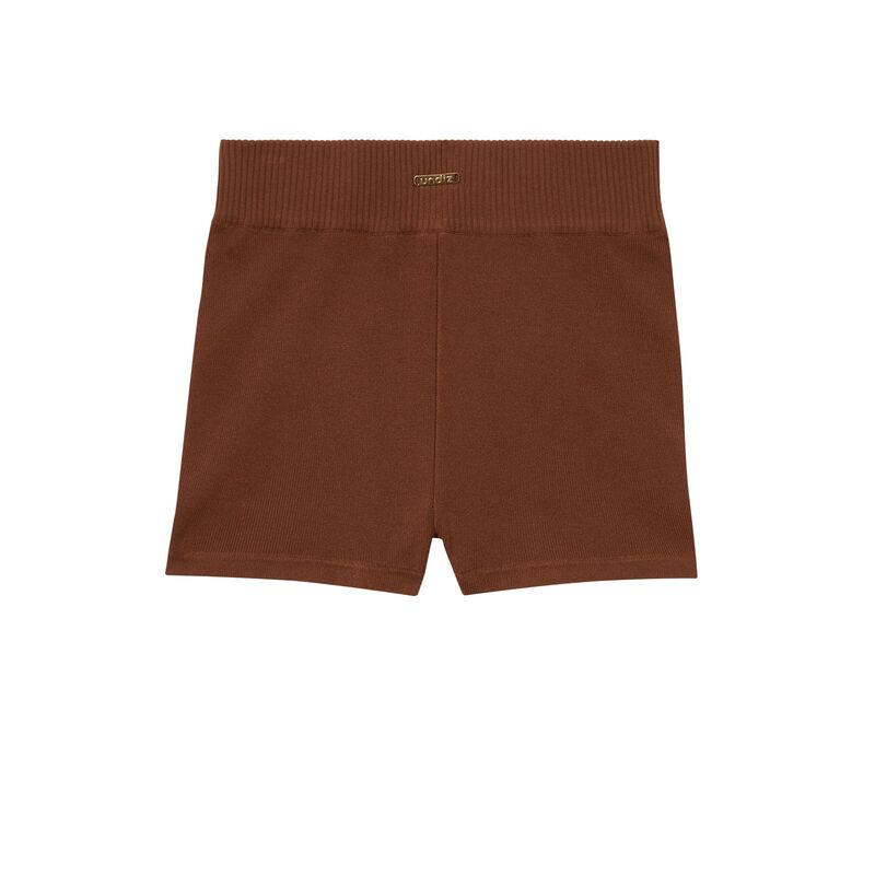Pantalón corto ciclista de punto - marrón;