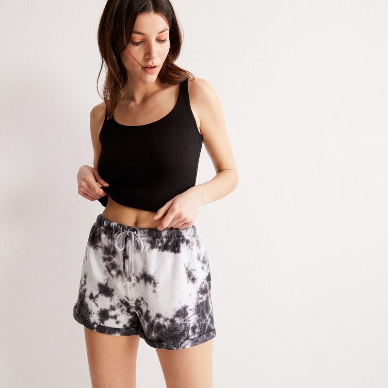 shorts efecto tie and dye con detalle de cordón - negro;